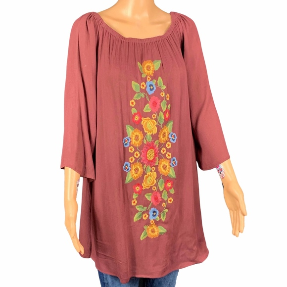 mittoshop Tops - Mittoshop Brown Rust Floral Embroidered Tunic M